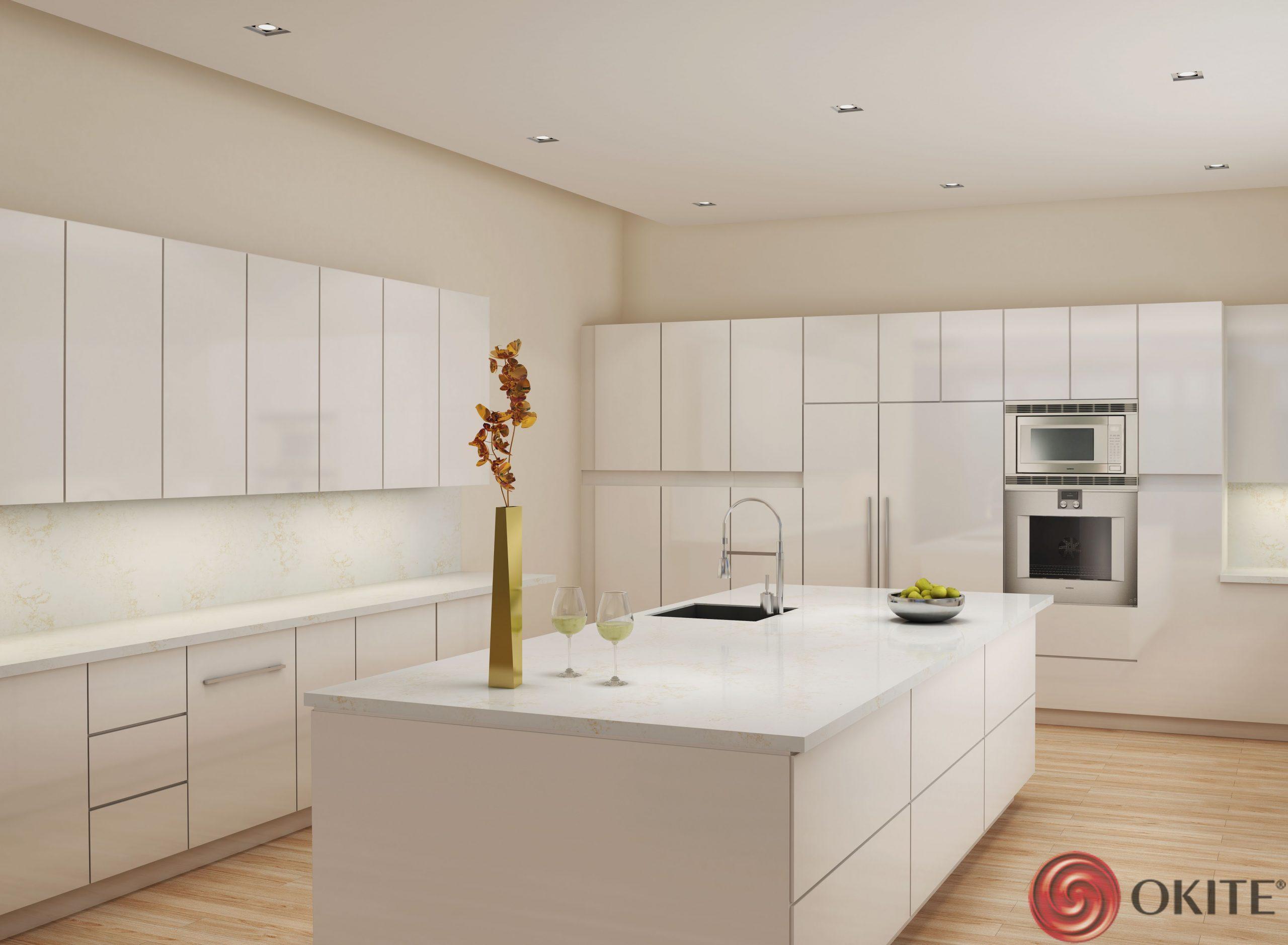 kuchyňa z materiálu Okite biela