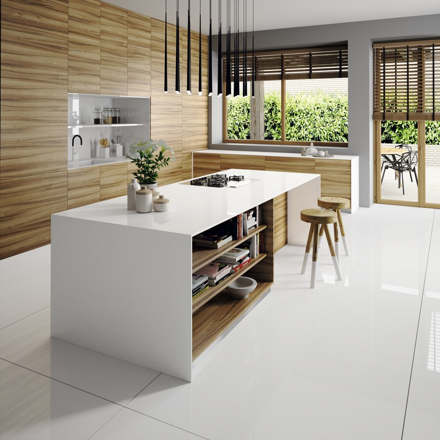 biely kuchynský ostrov z technického kameňa